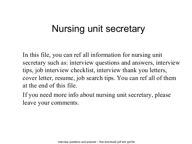 Nursing Unit Secretary