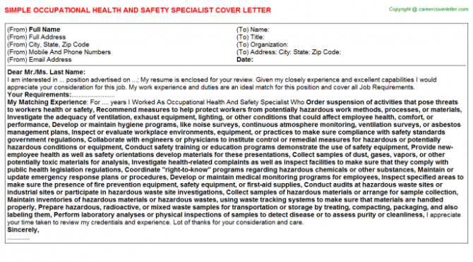 Occupational Health And Safety Specialist Cover Letter