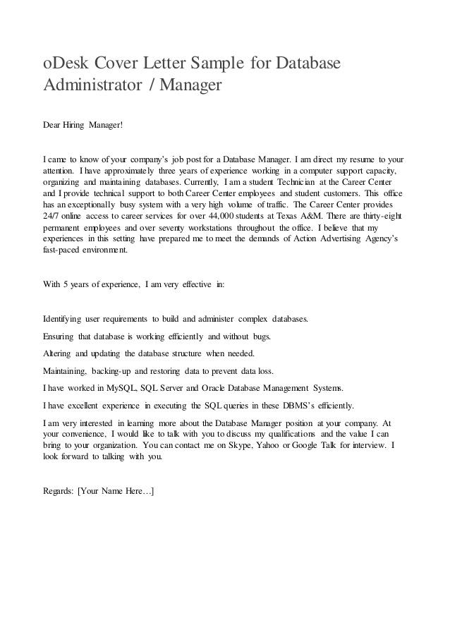 Odesk Cover Letter Sample For Database Administrator Or Manager