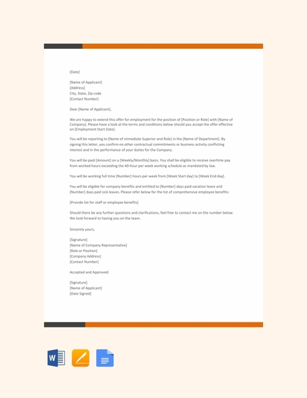 Offer Letter Examples  Templates In Word  Pages  Docs