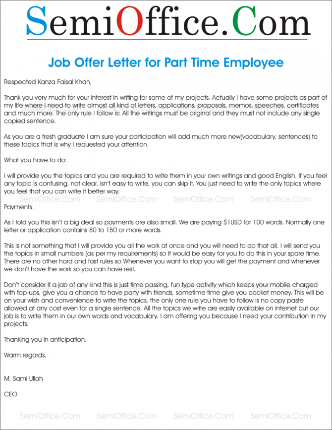 Offer Letter For Contract Employees Sample