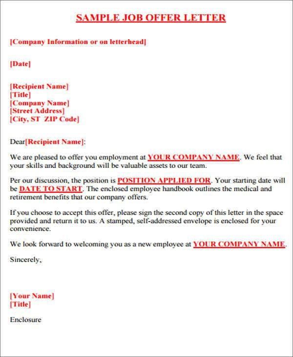 Offer Letter Format Templates