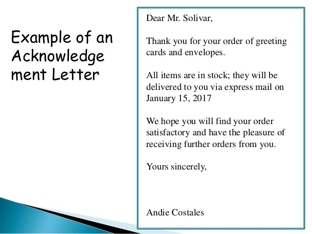 Order  Acknowledgement And Delay In Order Letter
