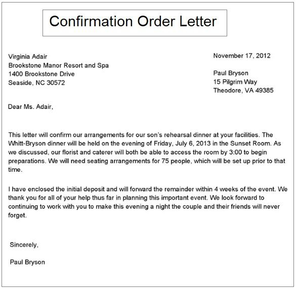 Order Confirmation Letter Samples