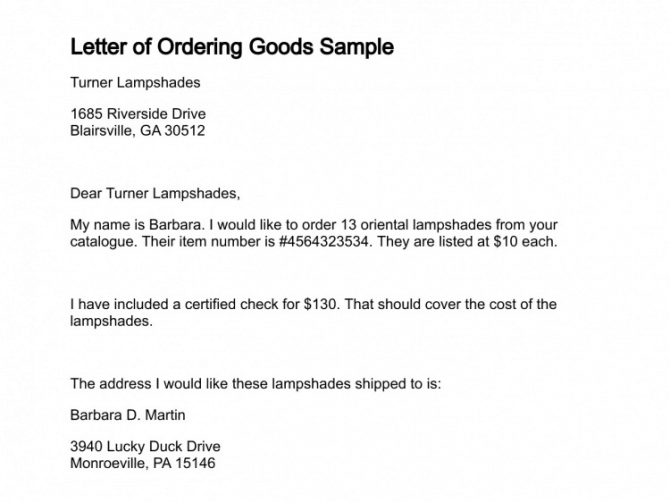 Order Letter Samples