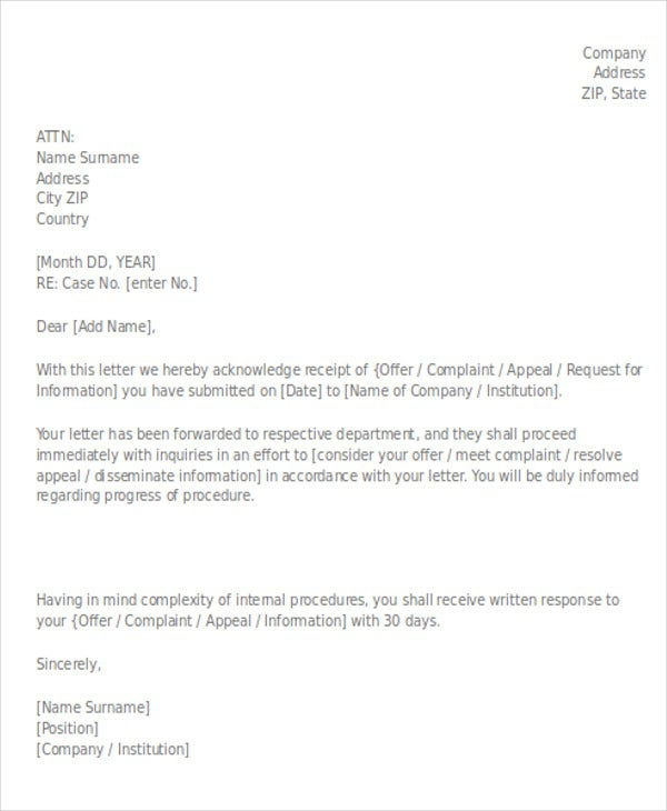 Payment Acknowledgement Letter Templates