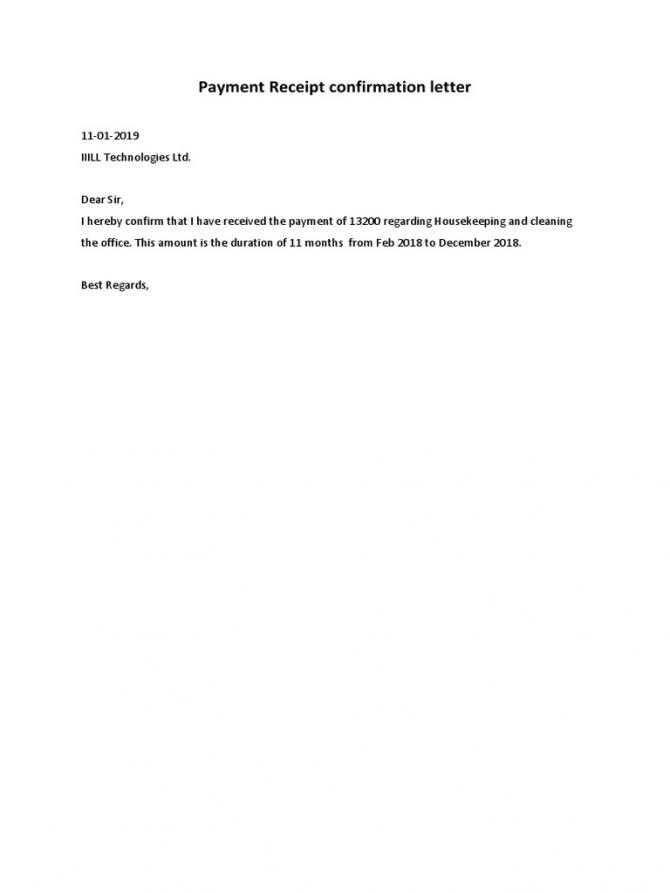 Payment Receipt Confirmation Letter