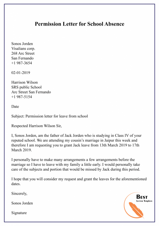 Permission Letter Template For School  Format  Sample   Example