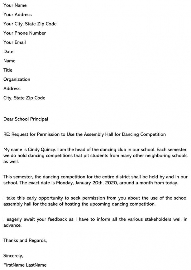 Permission Letter To Principal Ask To Use School Space