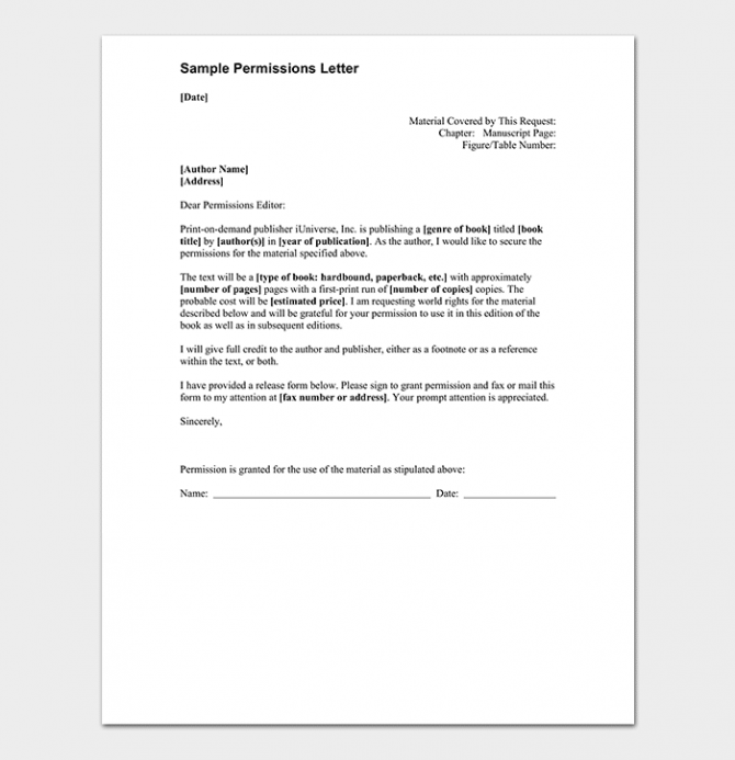 Permission Request Letter Format With  Samples
