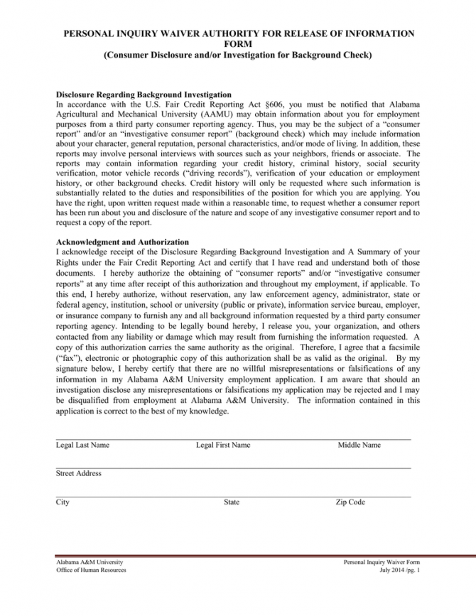 Personal Inquiry Waiver Authority For Release Of Information Form