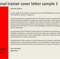 Certified Personal Trainer Cover Letter