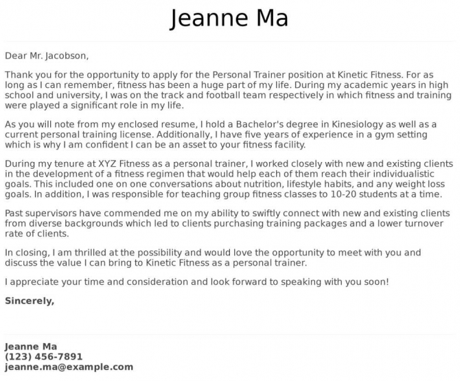 Personal Trainer Cover Letter Examples  Samples   Templates
