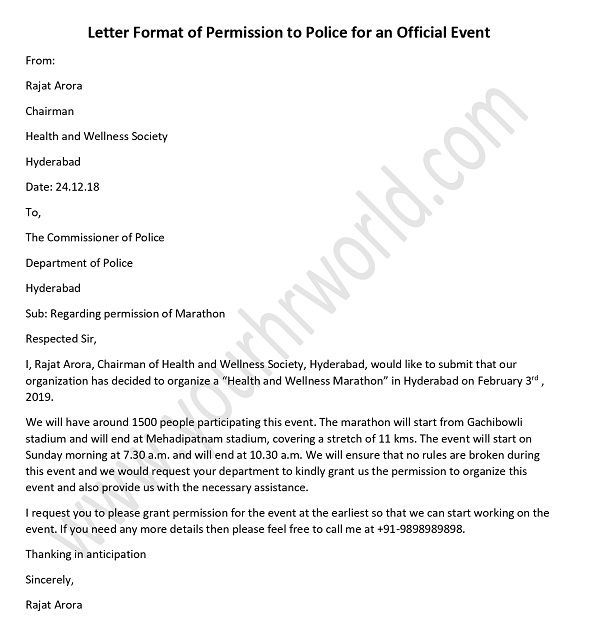 Police Permission Letter For Official Event