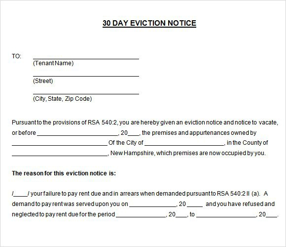 Printable Sample  Day Notice To Vacate Template Form