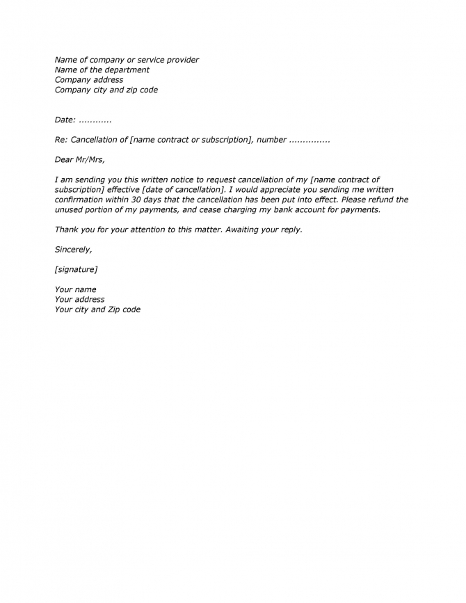 Professional Cancellation Letters Gym  Insurance  Contract  More