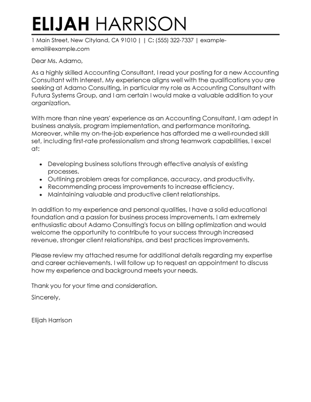 Professional Financial Consultant Cover Letter Examples