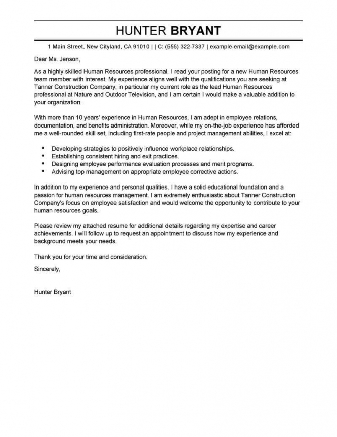 Professional Human Resources Cover Letter Examples