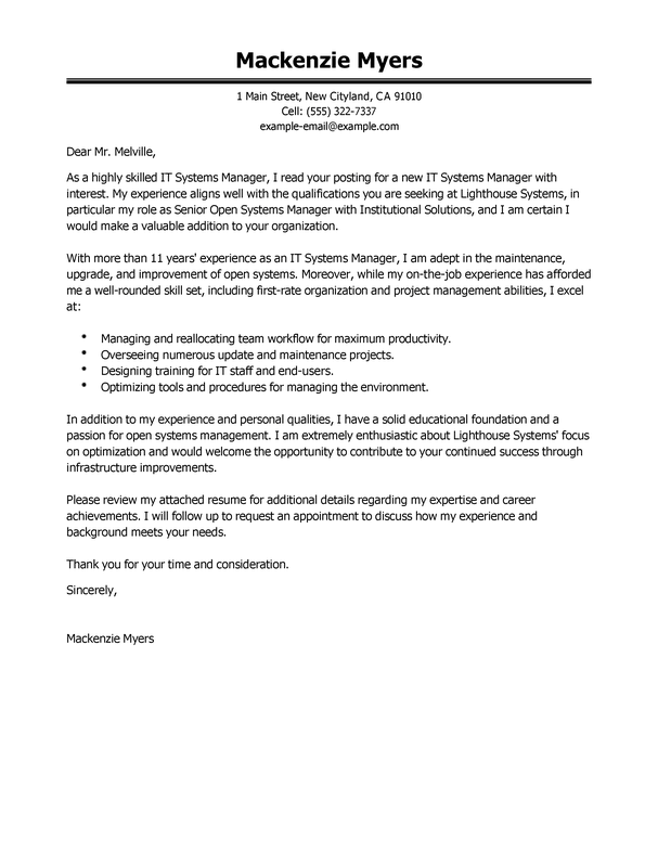 Professional Information Technology Cover Letter Examples