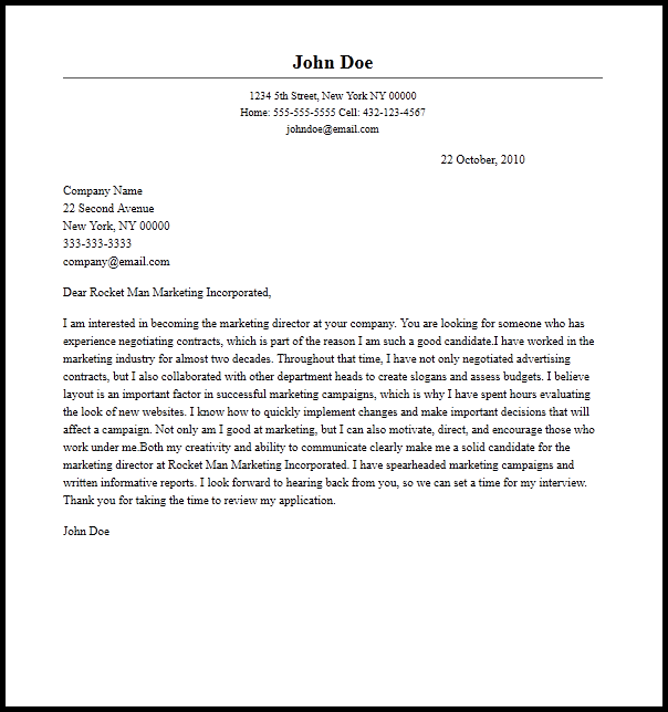 Professional Marketing Director Cover Letter Sample   Writing