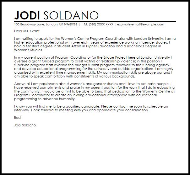 Program Coordinator Cover Letter Sample