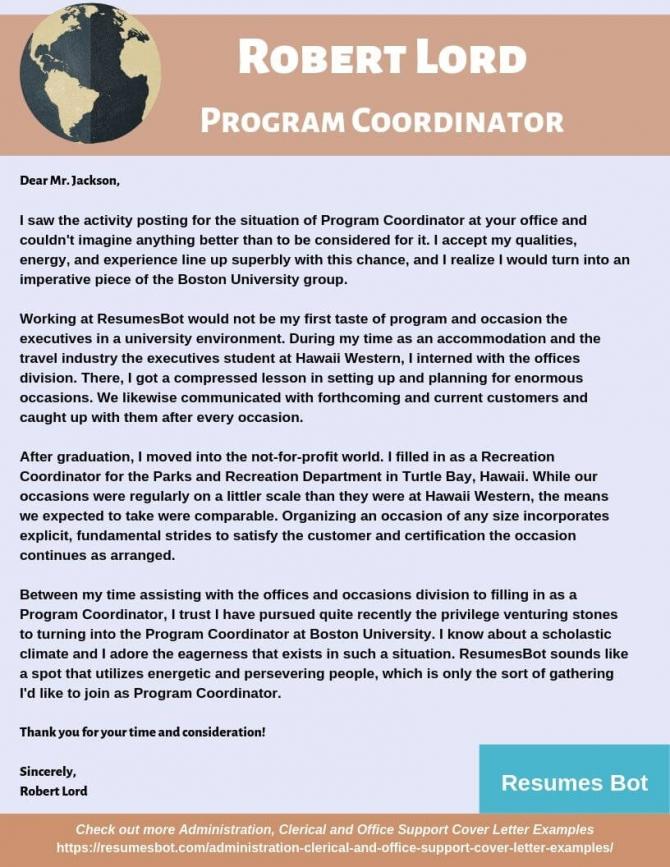 Program Coordinator Cover Letter Samples   Templates Pdfword