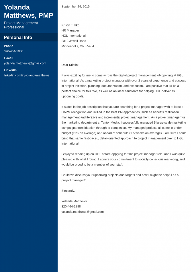Project Manager Cover Letter Examples For