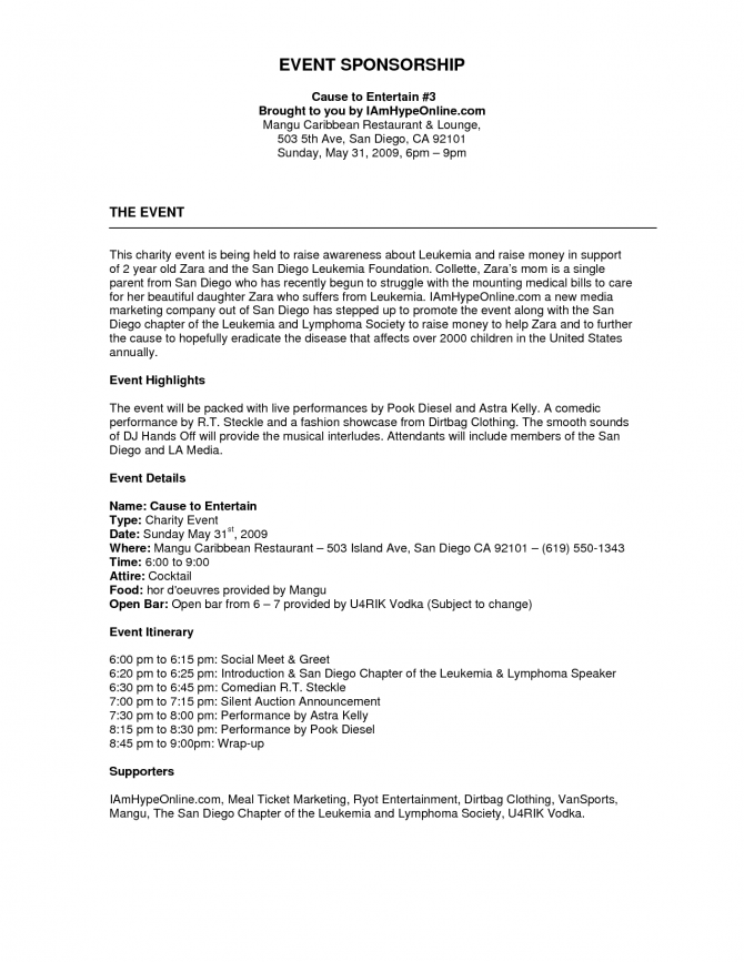 Project Summary Event Proposal Template Formathtml Sponsorship