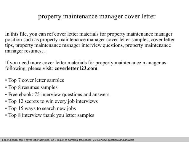 Property Maintenance Manager Cover Letter