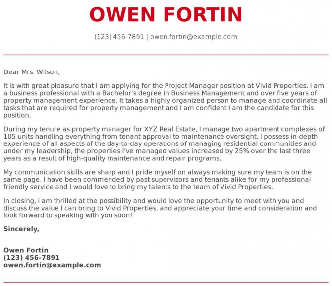 Property Manager Cover Letter Examples  Samples   Templates