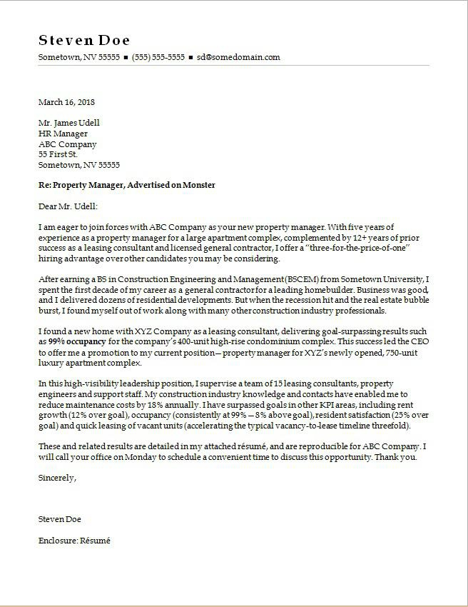 Property Manager Cover Letter Sample