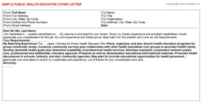 Public Health Educator Cover Letter