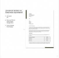 Letter Of Intent To Purchase Equipment