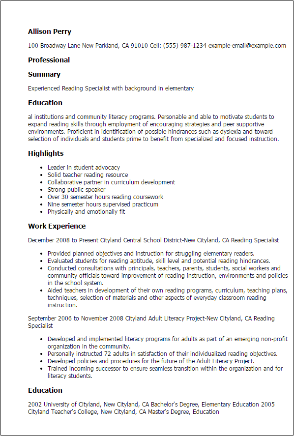 Reading Specialist Resume Templates Try Them Now