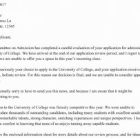 College Application Rejection Letter