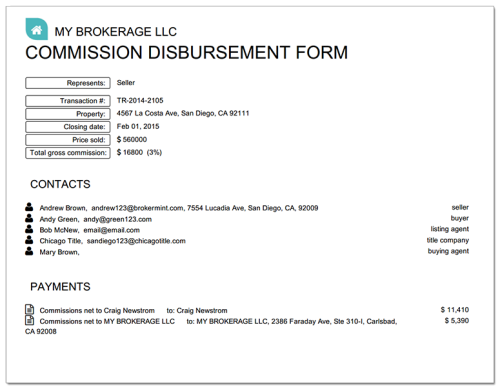 Real Estate Disbursement Form Cda