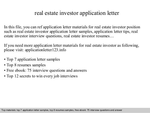 Real Estate Investor Application Letter