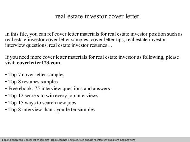 Real Estate Investor Cover Letter
