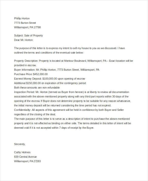 Real Estate Property Offer Letter Template