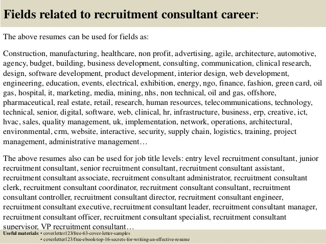 Recruiter Consultant Resume