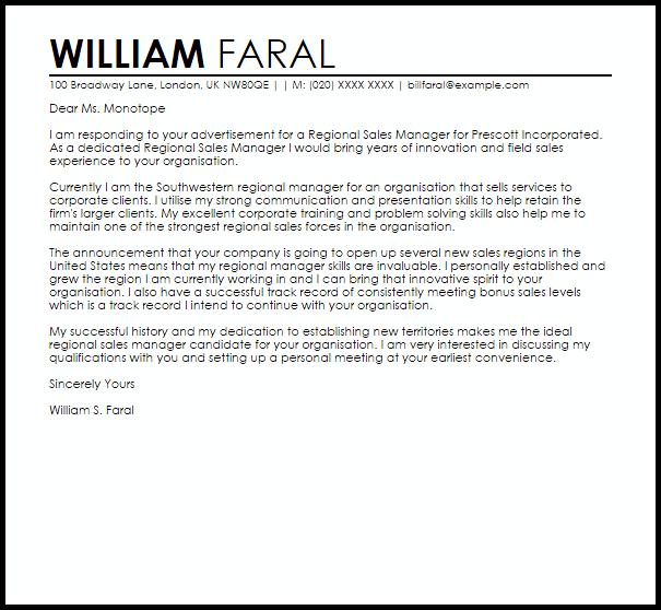 Regional Sales Manager Cover Letter Sample