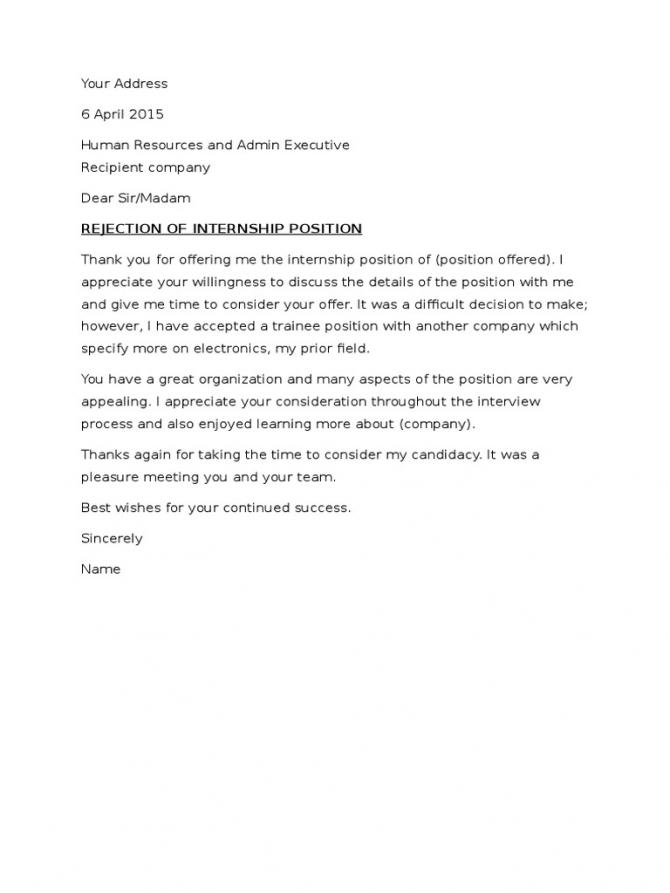 Rejection Letter For Job Offer Or Internship Offer