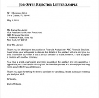 Formal Rejection Letter For Job Offer