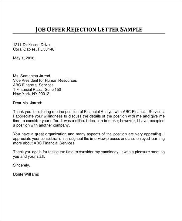 Rejection Letter Pdf