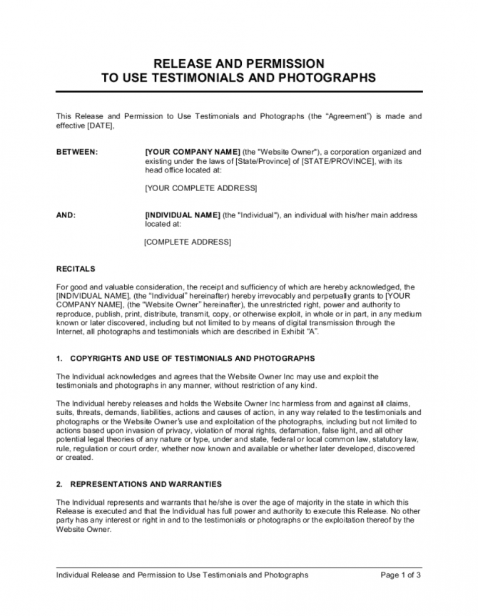 Release And Permission To Use Testimonial And Photographs Template