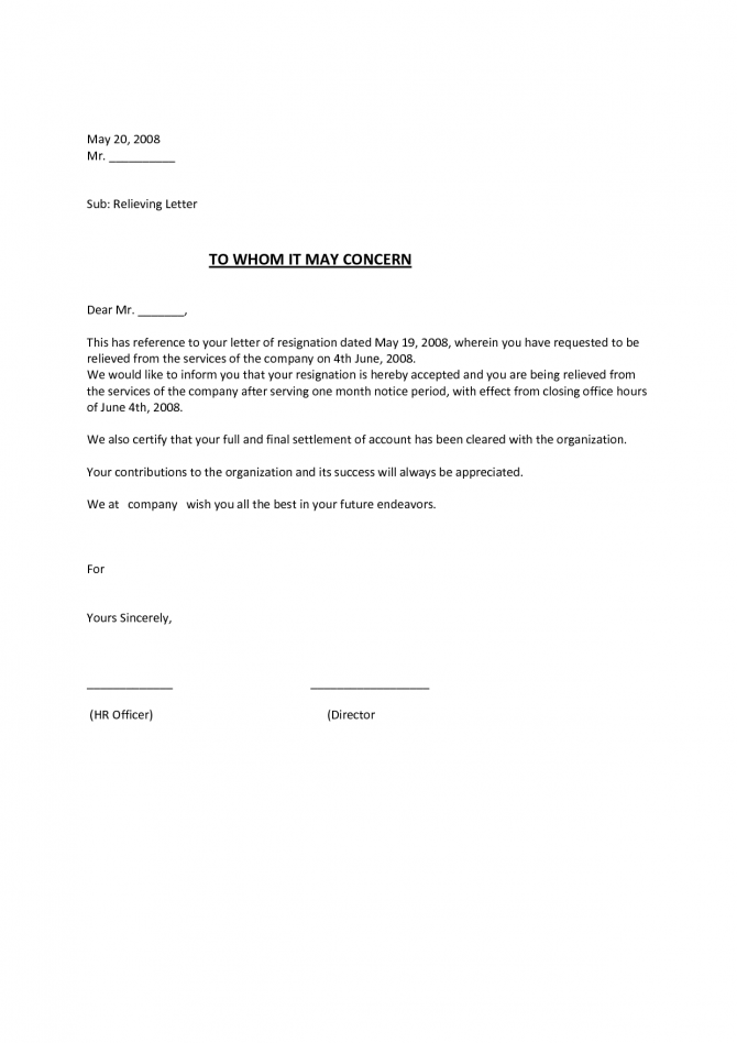 Relieving Letter Format For Employee Free Download