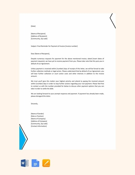 Reminder Letter Examples  Templates In Word  Pages  Docs