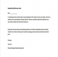 Personal Rental Reference Letter