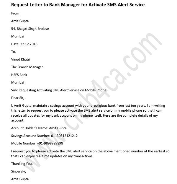 Request Letter To Bank Manager For Activate Sms Alert Service