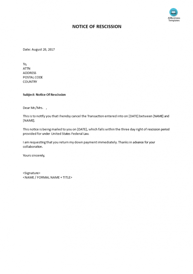 Rescission Written Notice
